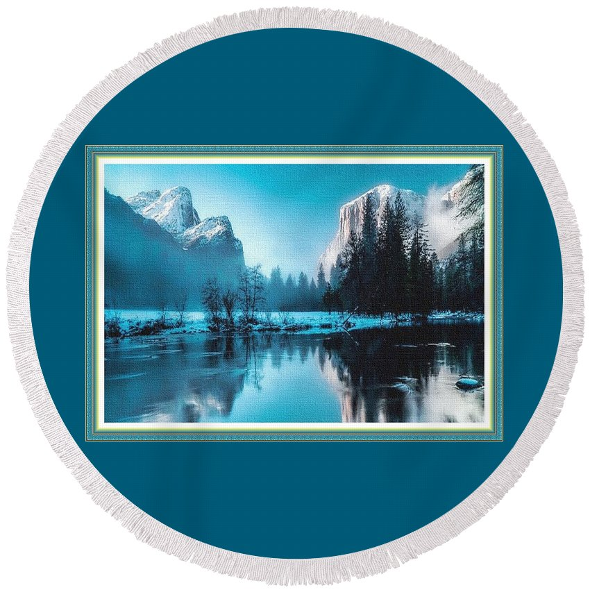 Rural Round Beach Towel featuring the painting Blue Winter Fantasy. L B With Decorative Ornate Printed Frame. by Gert J Rheeders