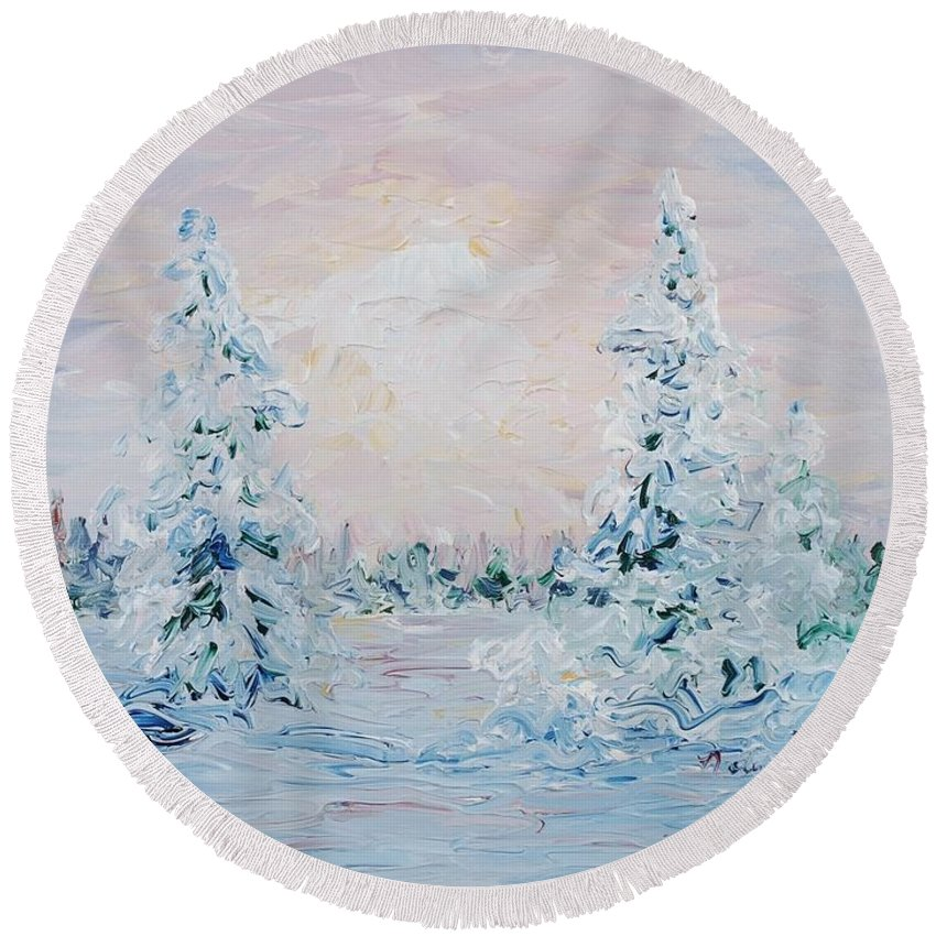 Landscape Round Beach Towel featuring the painting Blue Winter by Nadine Rippelmeyer