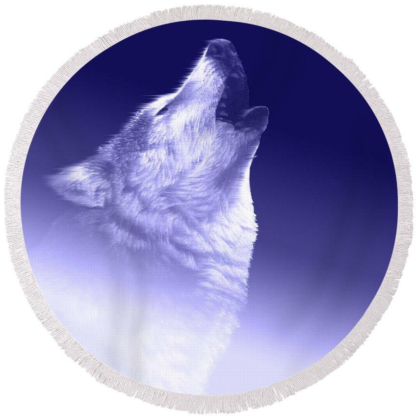 Blue.wolf Round Beach Towel featuring the digital art Blue Wolf  -007 by Will Logan