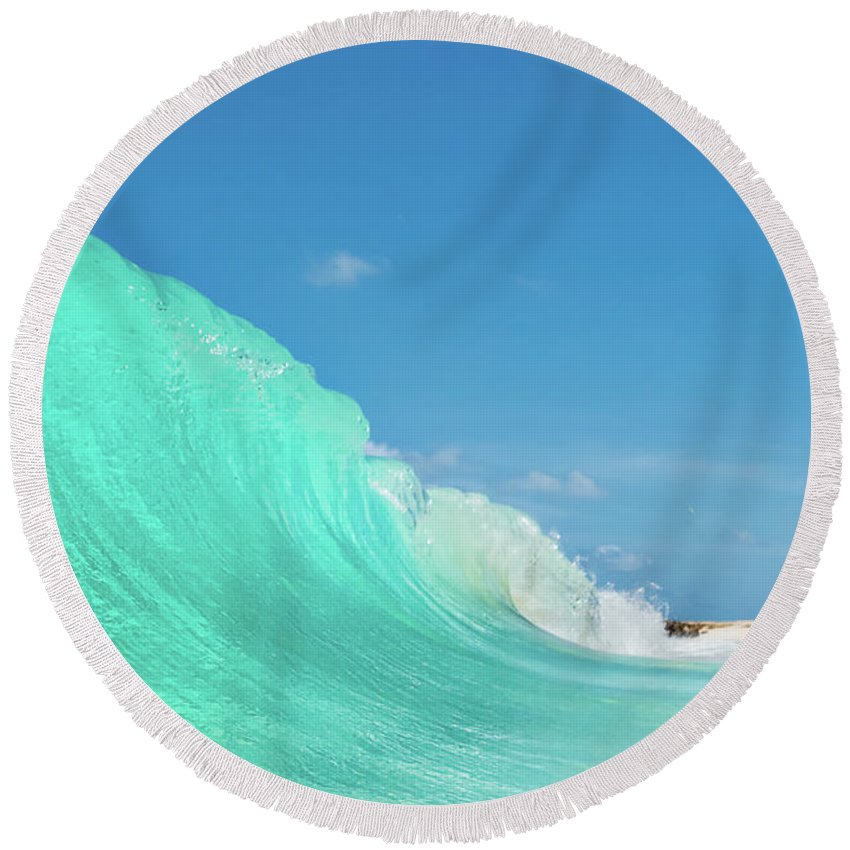 Miami Beach Round Beach Towel featuring the photograph Blue Wonder by Andre Donawa