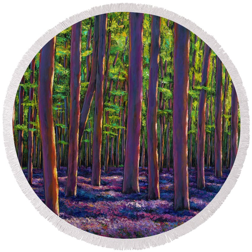 Bluebell Wildflower Landscape Round Beach Towel featuring the painting Bluebells And Forest by Johnathan Harris