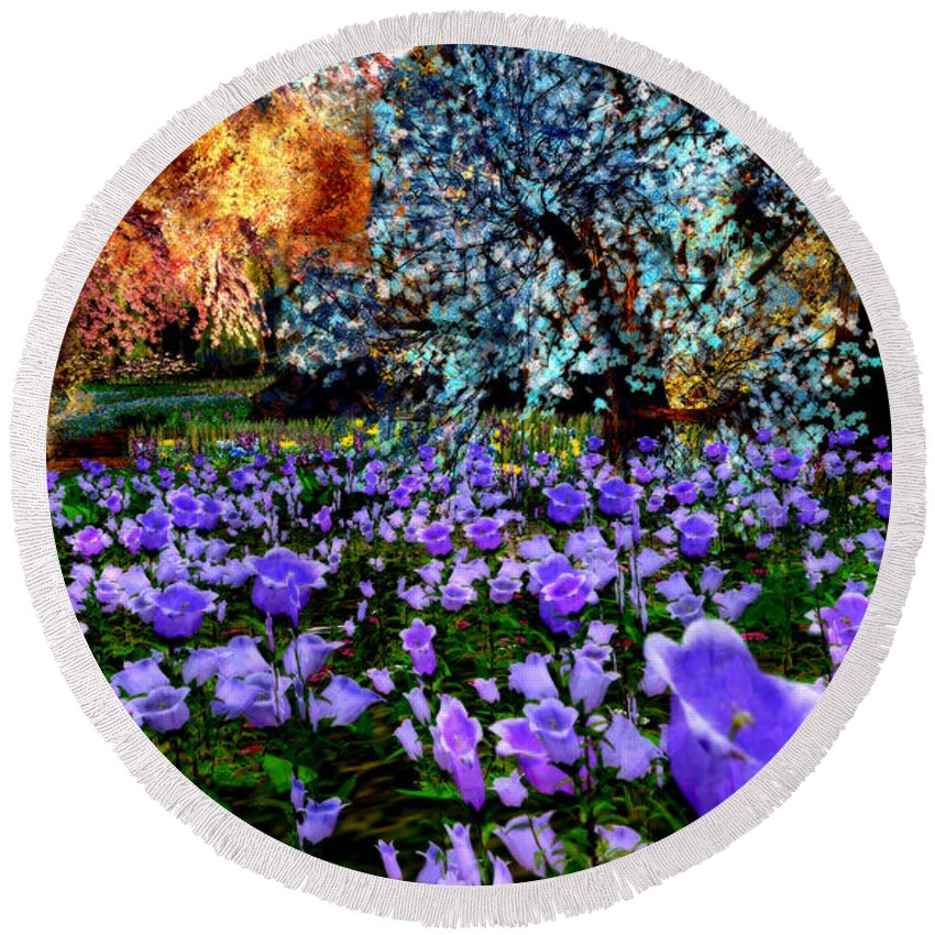 Bluebells Round Beach Towel featuring the digital art Bluebells by Gallery Beguiled