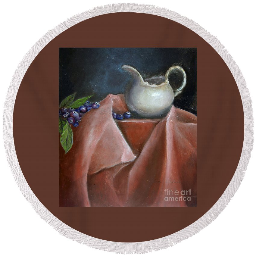 Blueberries Round Beach Towel featuring the painting Blueberries And Cream by Portraits By NC