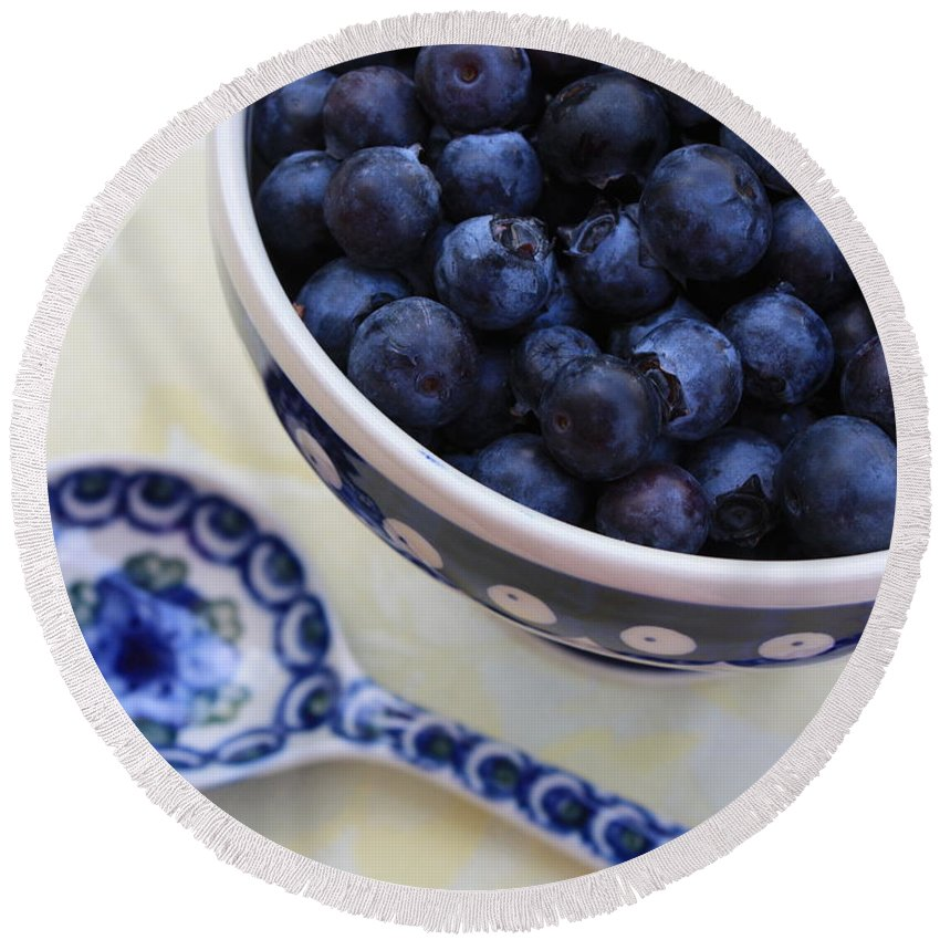 Still Life Of Fruit Round Beach Towel featuring the photograph Blueberries And Spoon by Carol Groenen