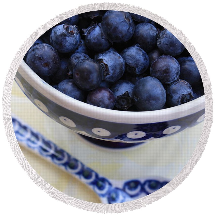 Food Round Beach Towel featuring the photograph Blueberries In Polish Pottery Bowl by Carol Groenen