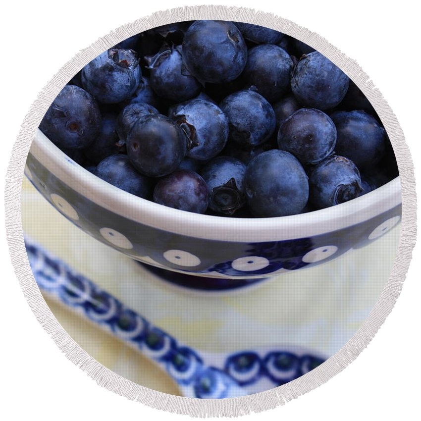 Food Round Beach Towel featuring the photograph Blueberries With Spoon by Carol Groenen