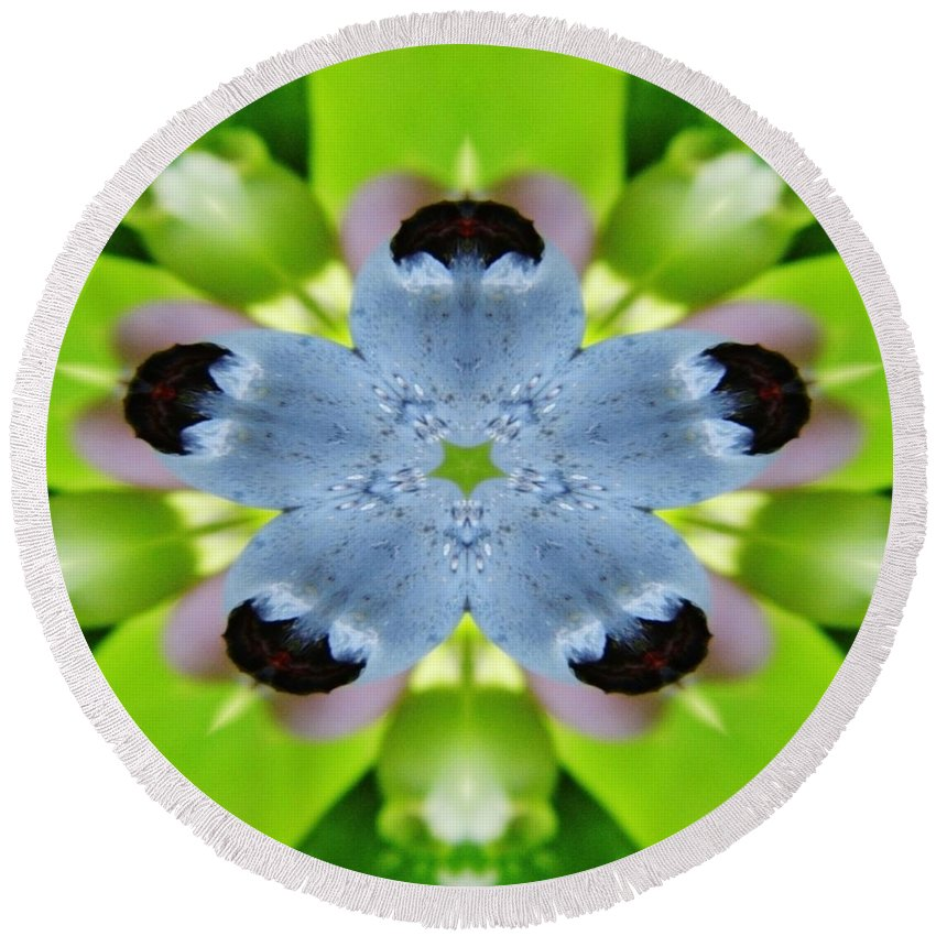 Digital Round Beach Towel featuring the digital art Blueberry Kaleidoscope by D Hackett