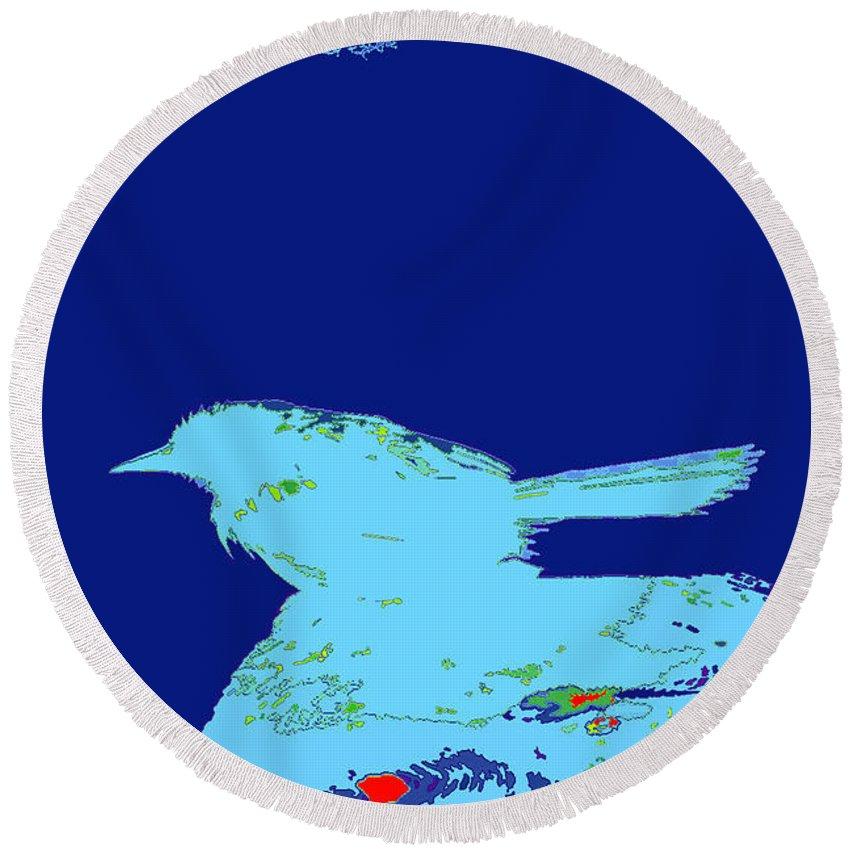 Bluebird Sit On Post Round Beach Towel featuring the digital art Bluebird by Chris Taggart