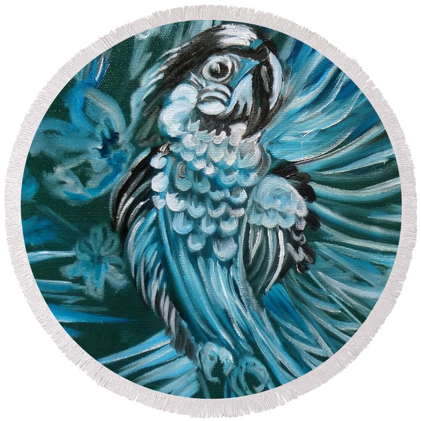 Bird Round Beach Towel featuring the painting Bluebird Of Happiness Jenny Lee Discount by Jenny Lee