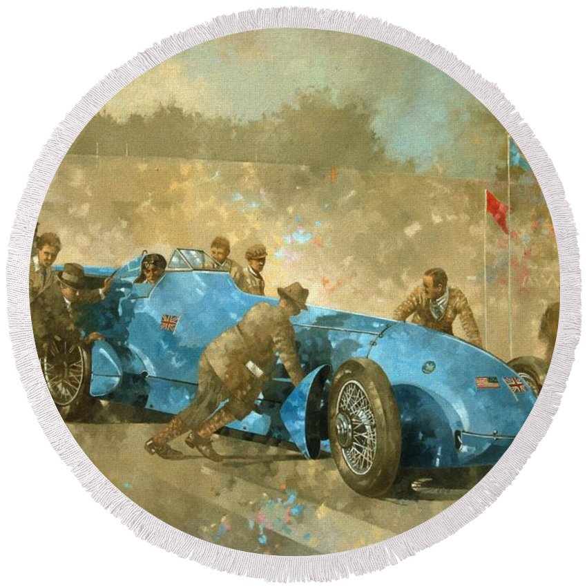 Car; Race Car; Vehicle; Racing; Track; Racetrack; Race Track; Vintage; Racer; Blue; Team; Pushing; Sportscar; Land Speed Test Round Beach Towel featuring the painting Bluebird by Peter Miller