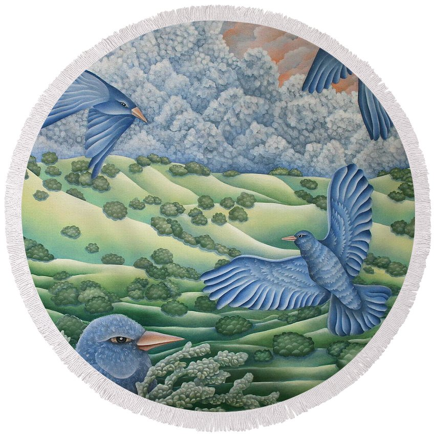 Round Beach Towel featuring the painting Bluebirds Of Happiness by Jeniffer Stapher-Thomas