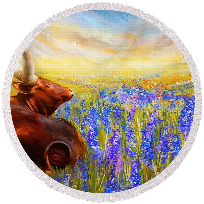 Texas Longhorn Round Beach Towel featuring the painting Bluebonnet Dream - Bluebonnet Paintings by Lourry Legarde