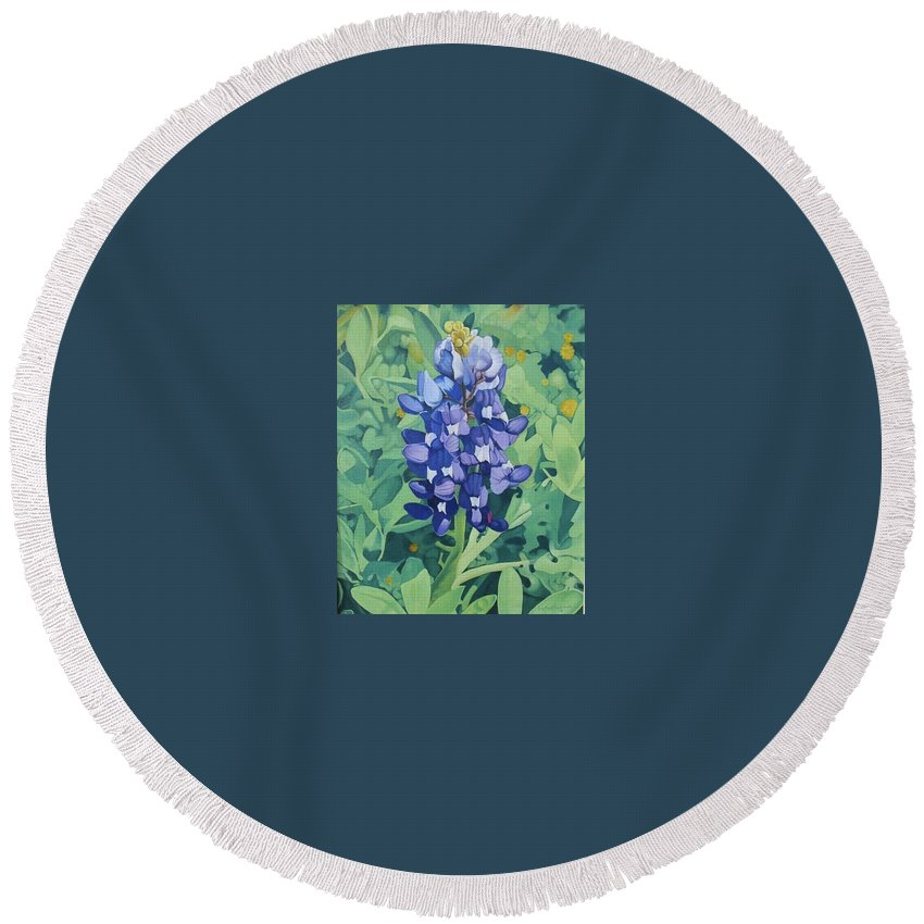 Bluebonnet Round Beach Towel featuring the painting Bluebonnet by Jim Bob Swafford