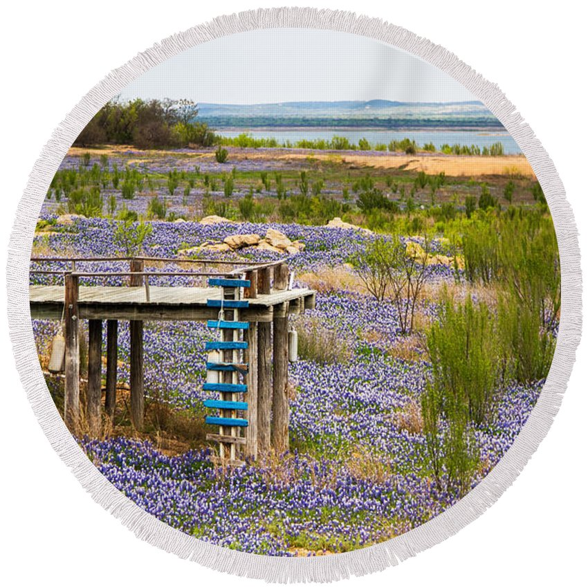 Bluebonnet Lake Round Beach Towel featuring the photograph Bluebonnet Lakeshore by Gary Holmes