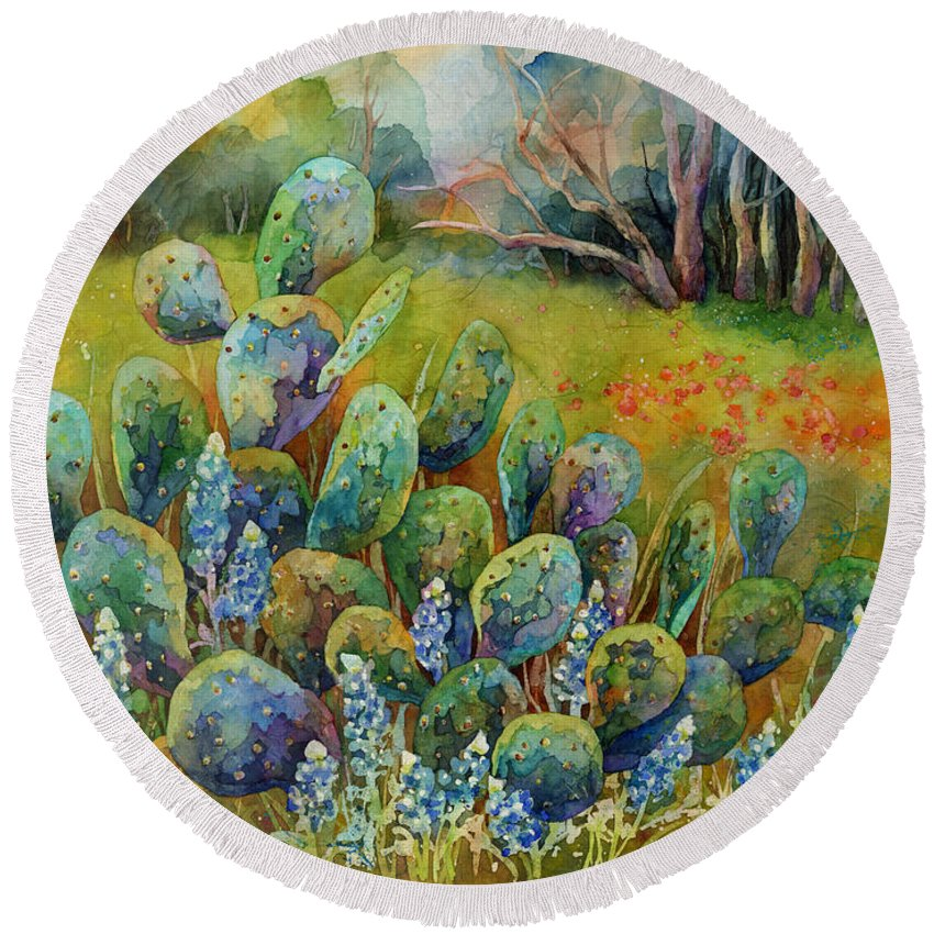 Cactus Round Beach Towel featuring the painting Bluebonnets and Cactus by Hailey E Herrera