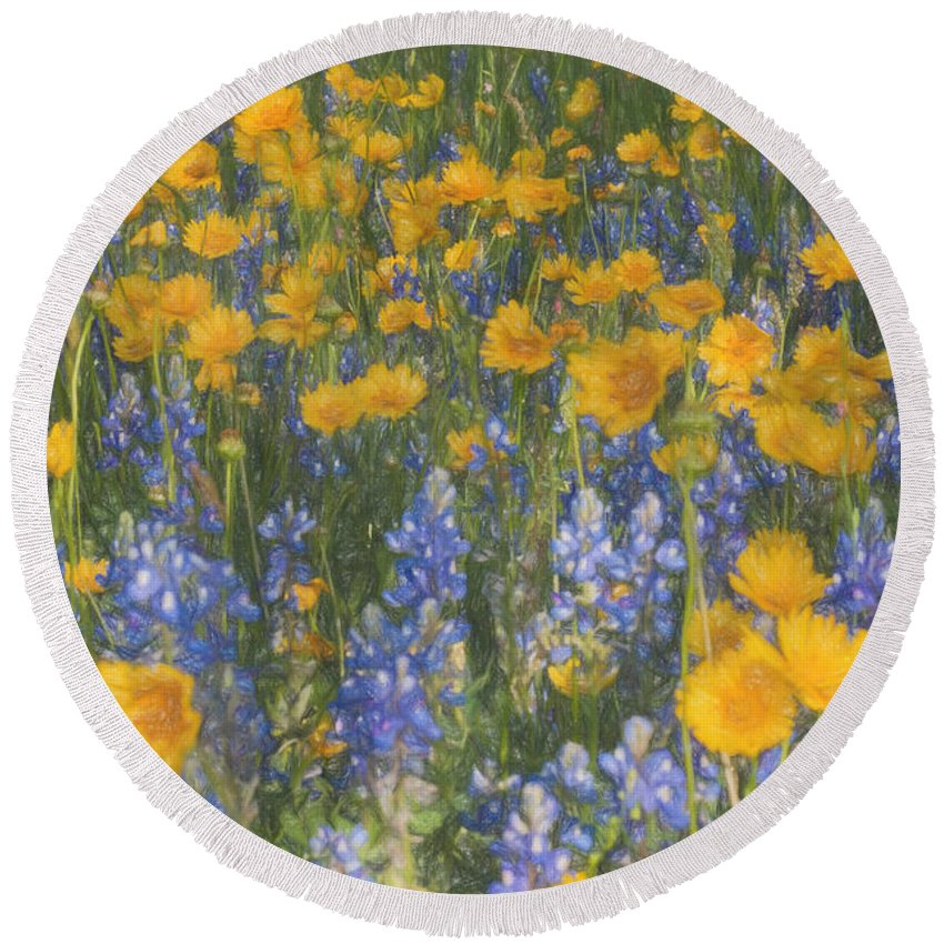 Bluebonnets Round Beach Towel featuring the photograph Bluebonnets And Wildflowers by Darla Rae Norwood