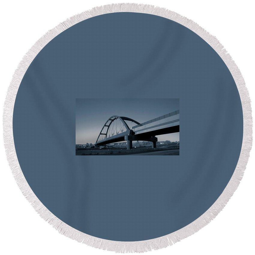 Duotone Round Beach Towel featuring the photograph Blued Bridge by Angus Hooper Iii