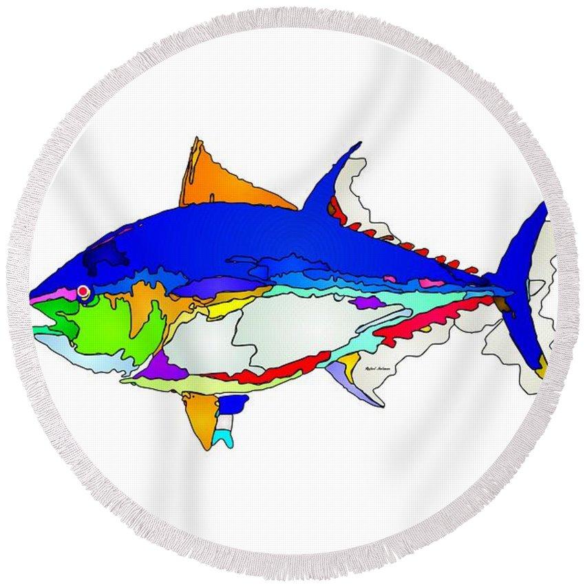 Fish Round Beach Towel featuring the digital art Bluefin Tuna by Rafael Salazar