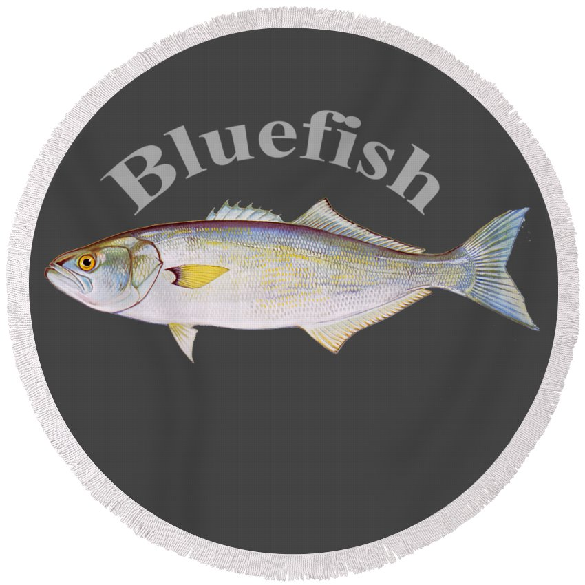 Bluefish Round Beach Towel featuring the digital art Bluefish by T Shirts R Us -