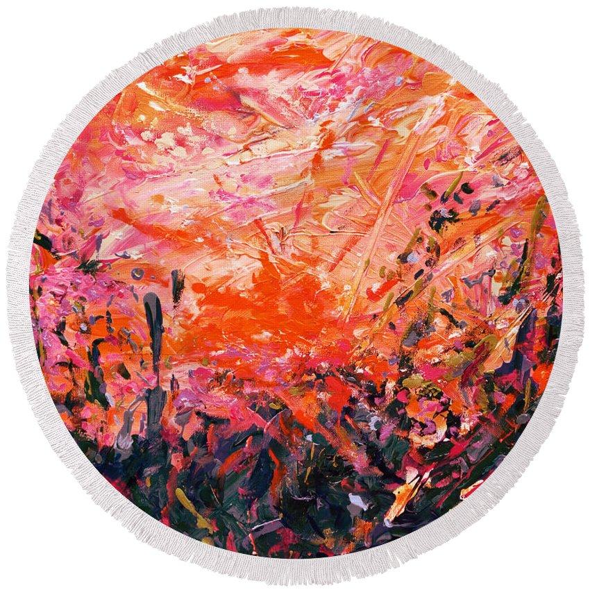 Bluegrass Round Beach Towel featuring the digital art Bluegrass Sunrise - Crimson A-left by Julie Turner