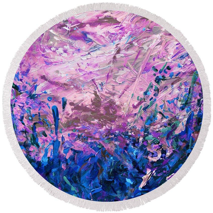 Bluegrass Round Beach Towel featuring the digital art Bluegrass Sunrise - Midnight A-left by Julie Turner