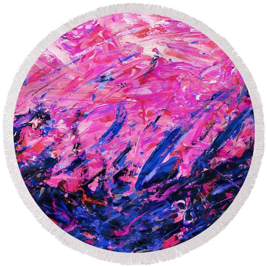 Bluegrass Round Beach Towel featuring the digital art Bluegrass Sunrise - Violet B-right by Julie Turner