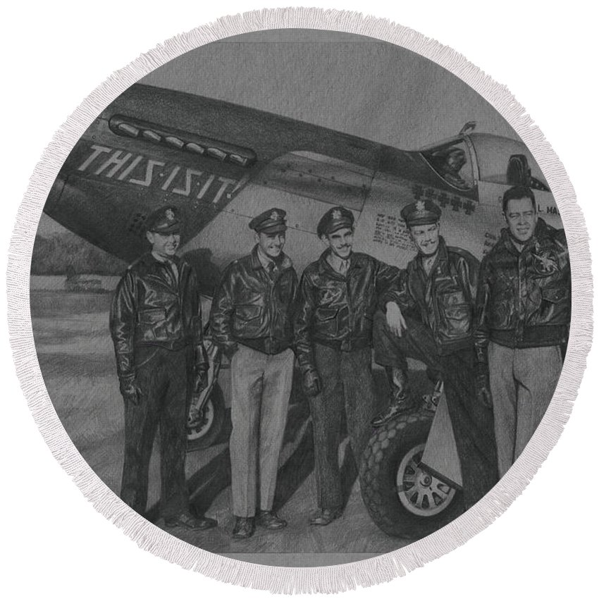 Aviation Art Round Beach Towel featuring the drawing Bluenosers by Wade Meyers
