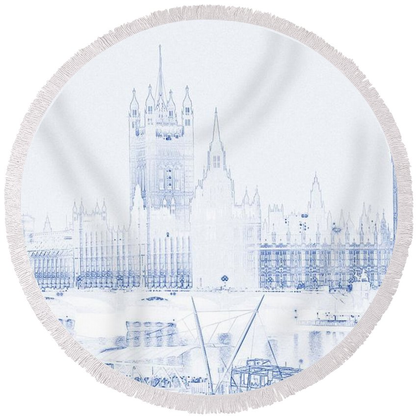 modern architecture blueprints floor plan architectural blueprint font round beach towel featuring the painting drawing of modern building london big ben tower