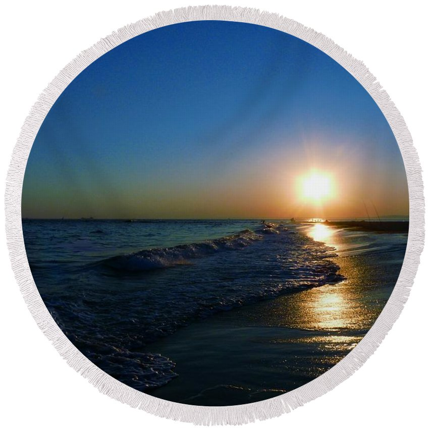 Landscape Round Beach Towel featuring the photograph Blues In The Evening by Kendall Eutemey