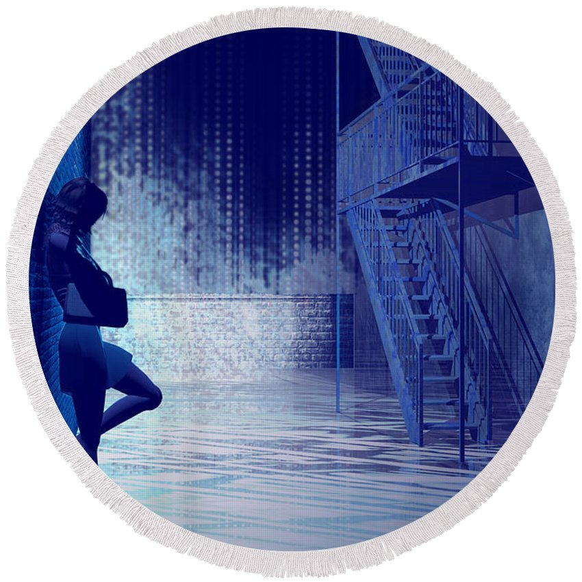 Alley Round Beach Towel featuring the digital art Blues In The Night by Carol and Mike Werner