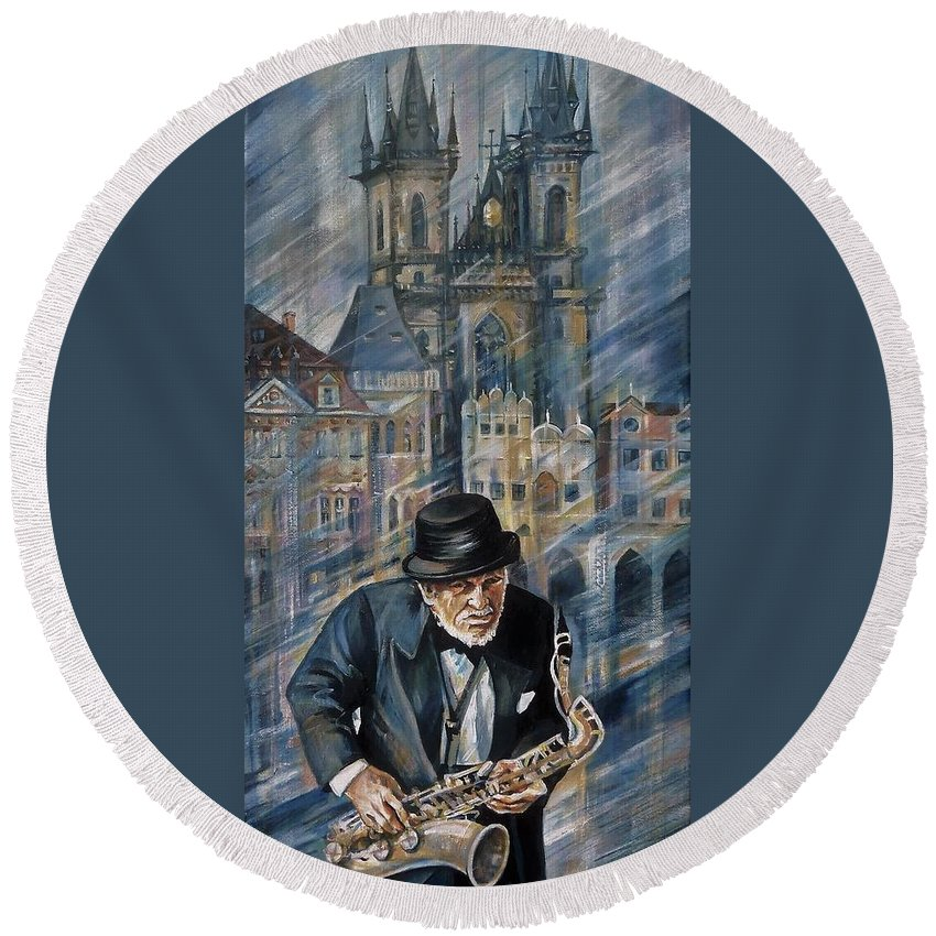 Travel Round Beach Towel featuring the painting Blues Of Prague. by Anna Duyunova