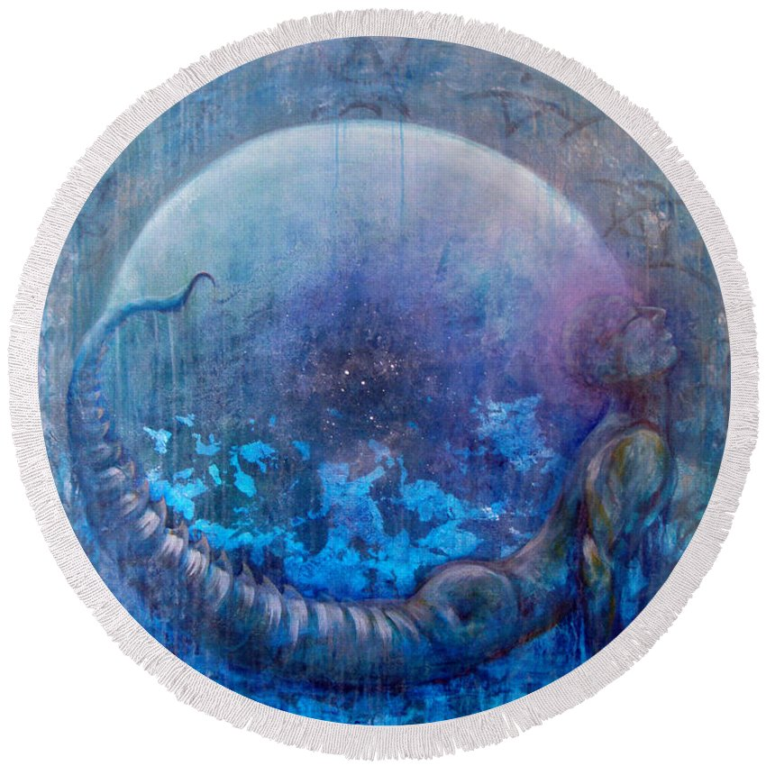Dreamscape Round Beach Towel featuring the painting Bluestargate by Ashley Kujan