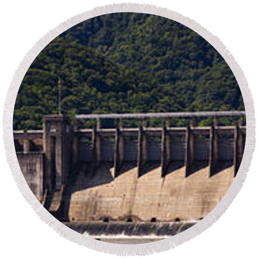 Bluestone Round Beach Towel featuring the photograph Bluestone West Virginia Dam Panorama by Teresa Mucha