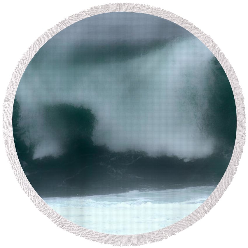 Crashing Waves Round Beach Towel featuring the photograph Blurry Crash by Adam Jewell