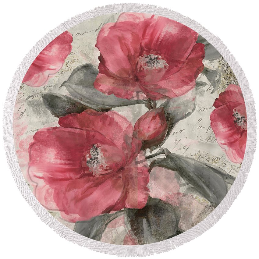 Pink Peony Round Beach Towel featuring the painting Blush by Mindy Sommers
