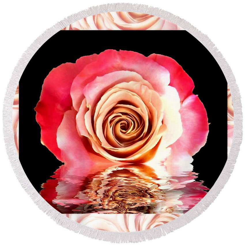 Flowers Round Beach Towel featuring the photograph Blush Reflection by Debbie Portwood