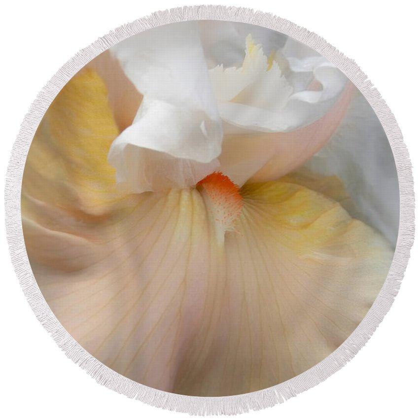 Iris Round Beach Towel featuring the photograph Blushing Peach Iris Flower by Jennie Marie Schell