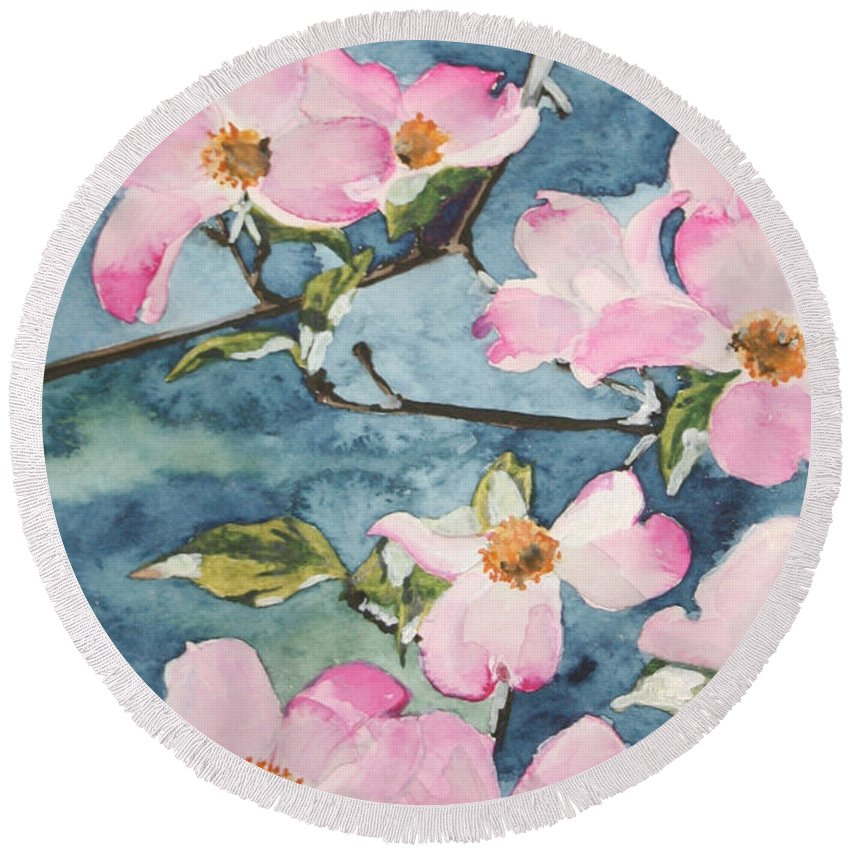 Flowers Round Beach Towel featuring the painting Blushing Prettily by Jean Blackmer