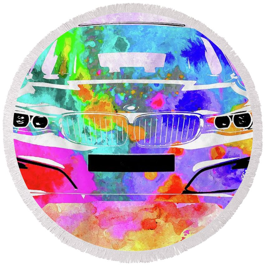 Bmw 3 Gran Turismo Round Beach Towel featuring the mixed media Bmw 3 Gran Turismo by Daniel Janda