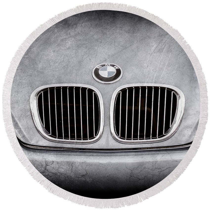 Bmw Grille Round Beach Towel featuring the photograph Bmw Grille -1123ac by Jill Reger