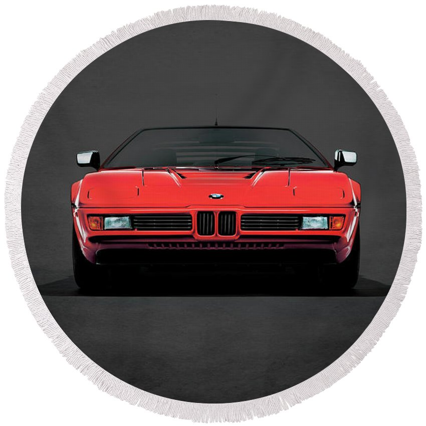 Bmw M1 Round Beach Towel featuring the photograph Bmw M1 1979 by Mark Rogan