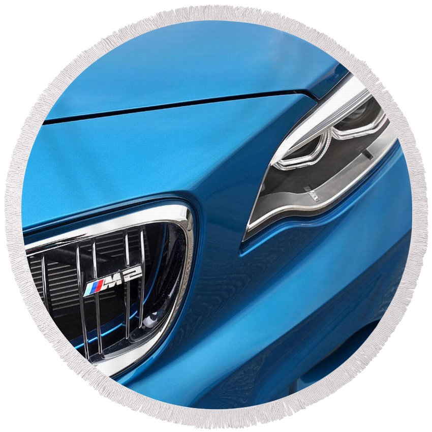 Bmw Round Beach Towel featuring the photograph Bmw M2 Grille by Gill Billington
