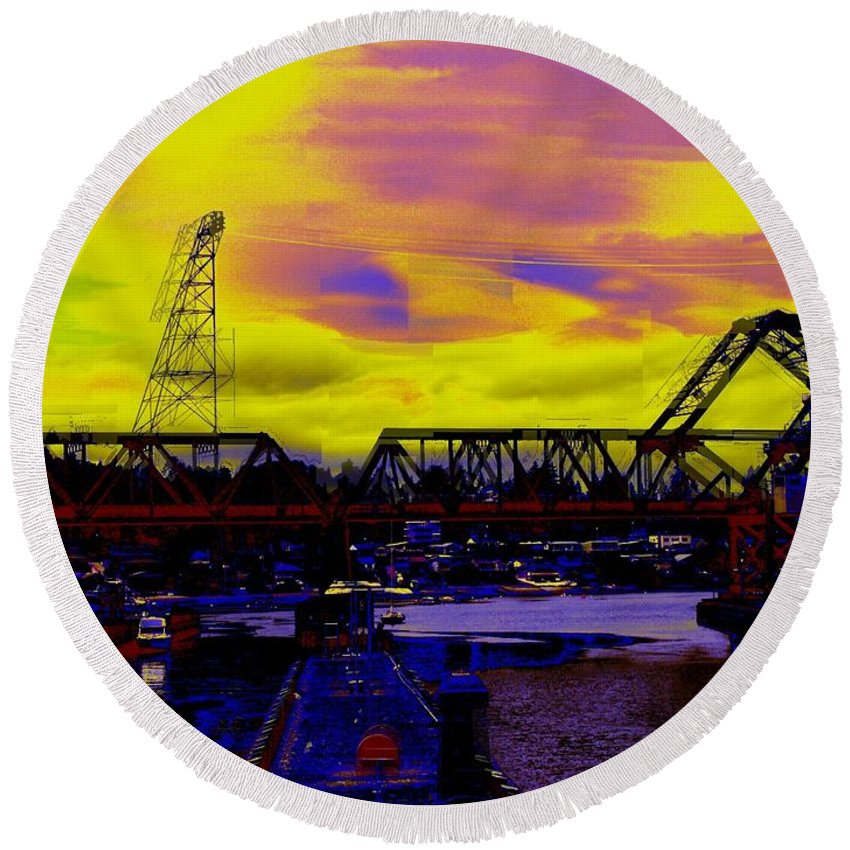 Seattle Round Beach Towel featuring the photograph Bnsf Trestle At Salmon Bay by Tim Allen