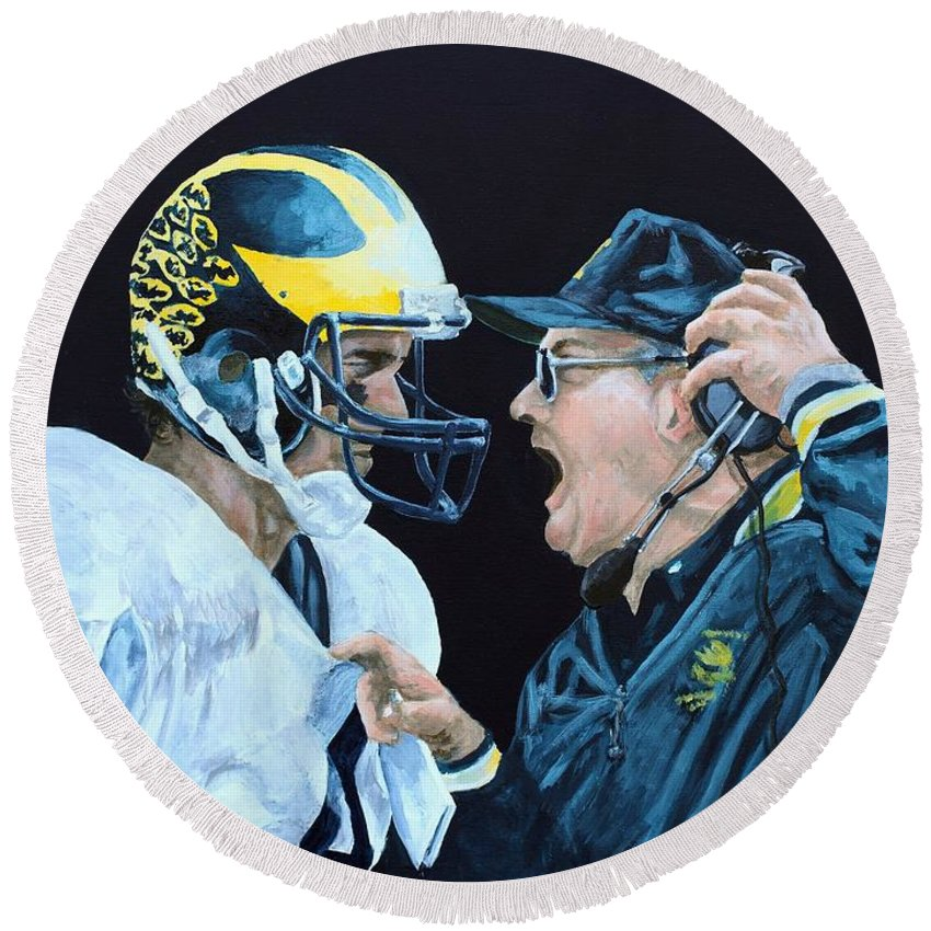 Michigan Round Beach Towel featuring the painting BO Knows by Travis Day