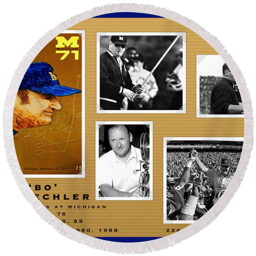Bo Schembechler Round Beach Towel featuring the painting Bo Schembechler Legend Five Panel by John Farr