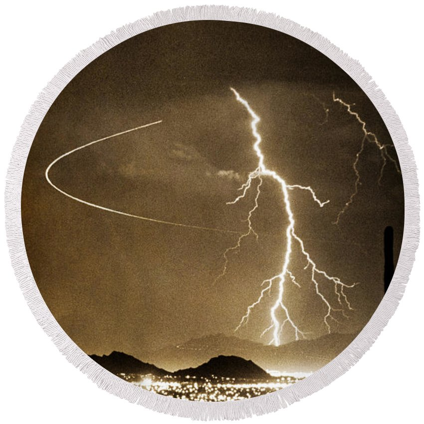 Lightning Round Beach Towel featuring the photograph Bo Trek Lightning Art by James BO Insogna