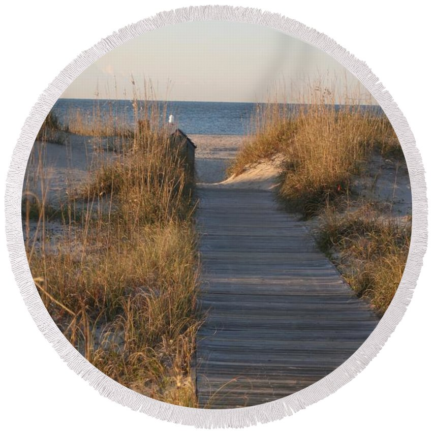 Boardwalk Round Beach Towel featuring the photograph Boardwalk To The Beach by Nadine Rippelmeyer