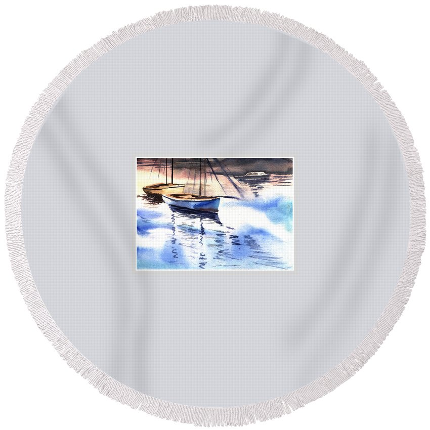 Watercolor Round Beach Towel featuring the painting Boat And The River by Anil Nene