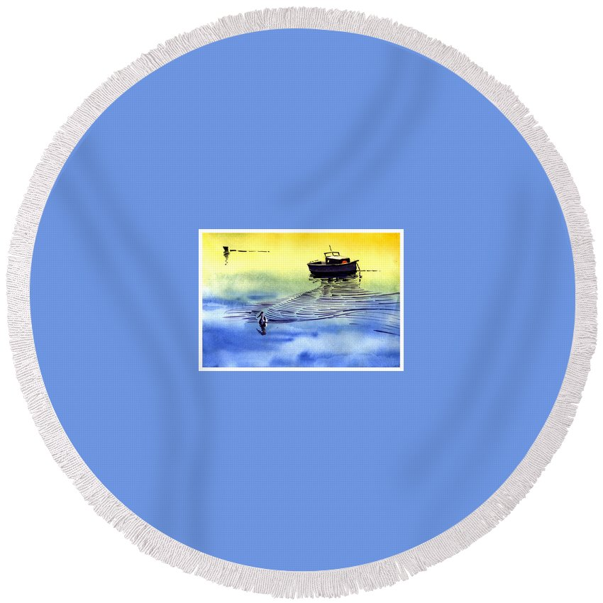 Watercolor Round Beach Towel featuring the painting Boat And The Seagull by Anil Nene