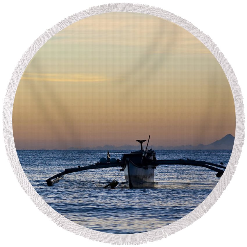 Seascape Round Beach Towel featuring the photograph Boat by George Cabig